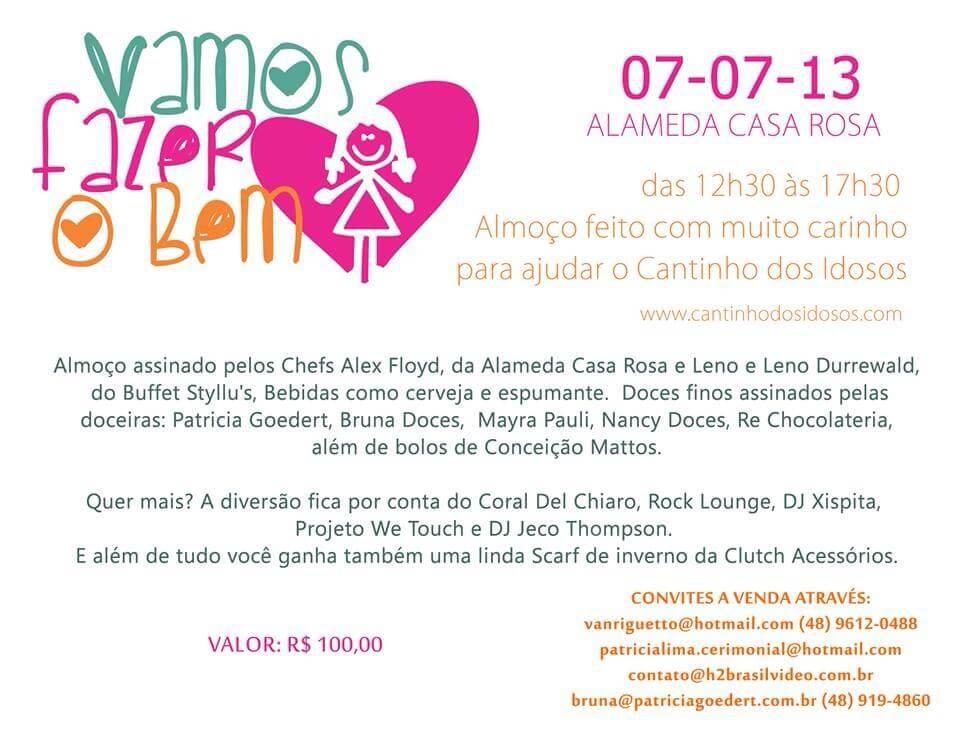 Vamos fazer o Bem 7 de julho na Alameda Casa Rosa