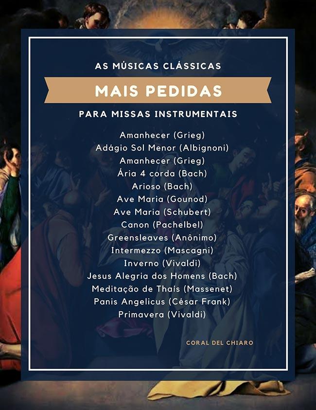 Músicas clássicas mais pedidas em missas