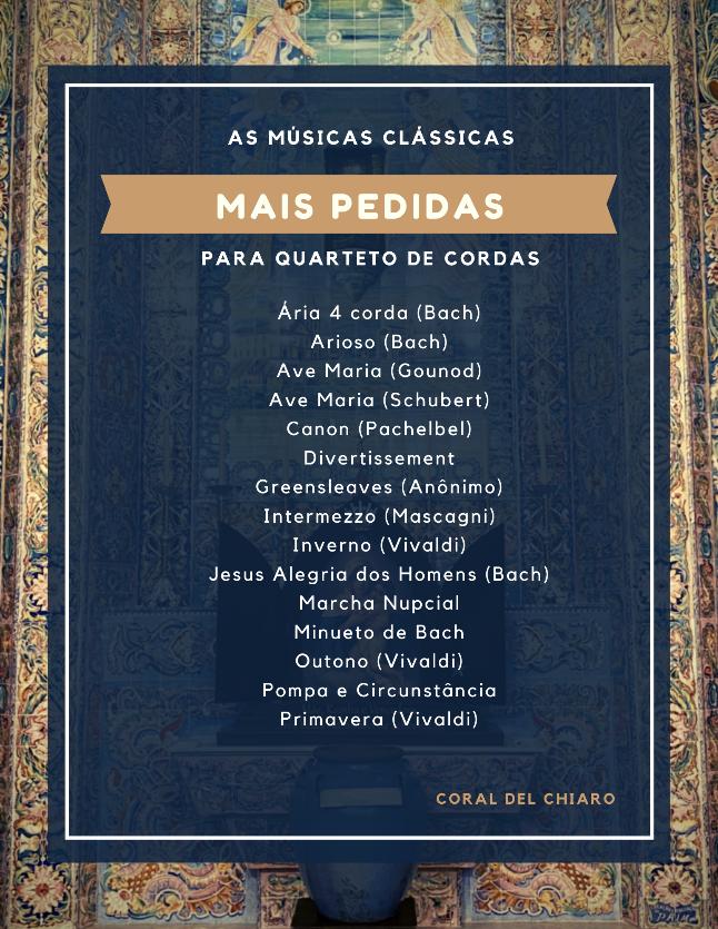 Quarteto de cordas para casamento - clássicas mais pedidas